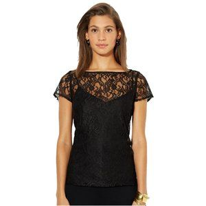 Black Floral Lace Cap Sleeve Sheer Blouse Top 16